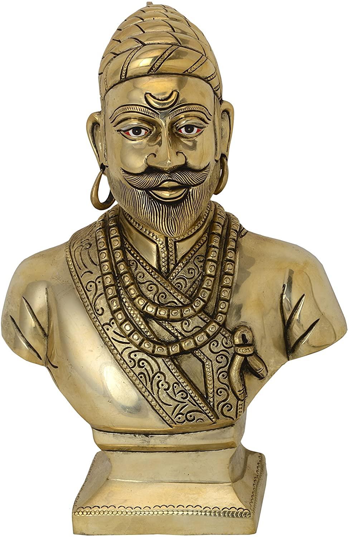 BHARAT HAAT Shivaji Brass Statue, Golden