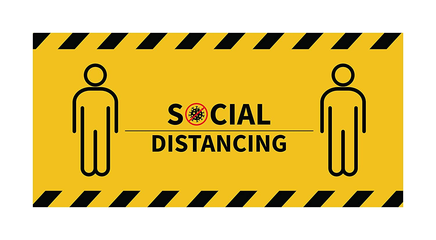 Social Distancing Sign Decal,Social Distancing Floor Sticker,Keep Safe Distance Sign for Workplace,Shops and Crowd Control Guidance,Yellow,14.4 X 3 INCH-10 pcs
