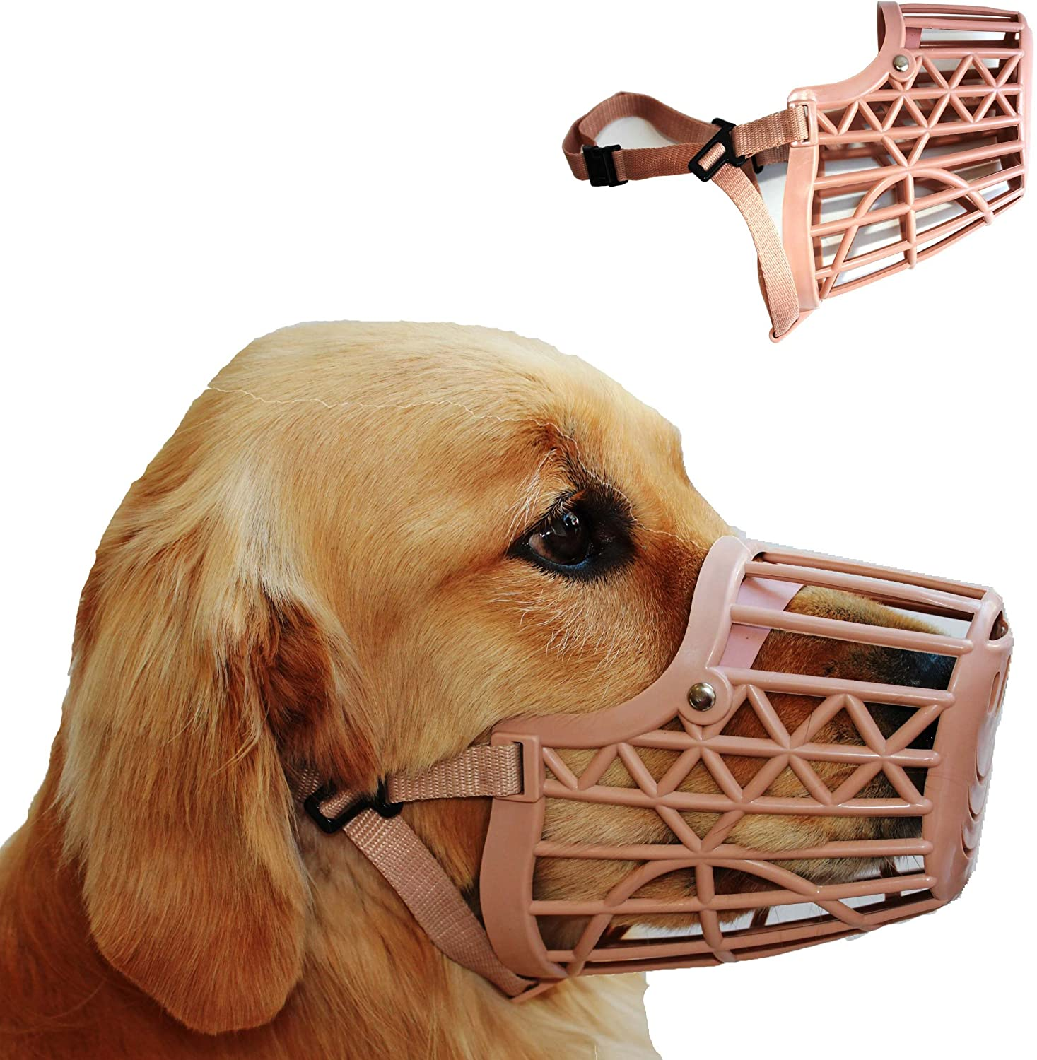 Downtown Pet Supply Basket Cage Dog Muzzles, Adjustable for Small, Medium and Large Dogs - Great for Training, Stops Biting