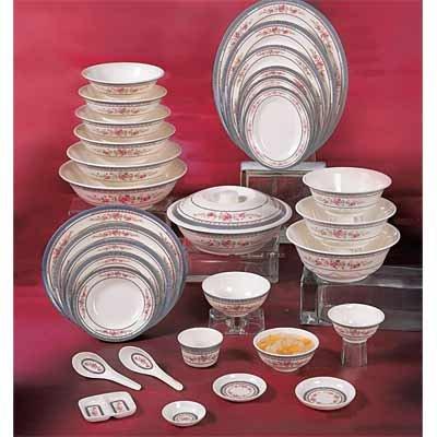 Thunder Group Asian Melamine Rose Scalloped Bowl, 7 1/4 inch - 12 per case.