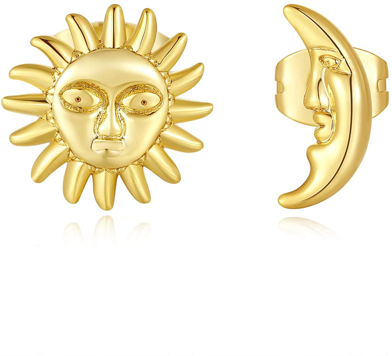GORSKOY Tiny Sun Piercing Studs 14K Gold Plated, Tiny CZ Earrings, Cute Star Moon Cartilage Piercing Earrings for Women