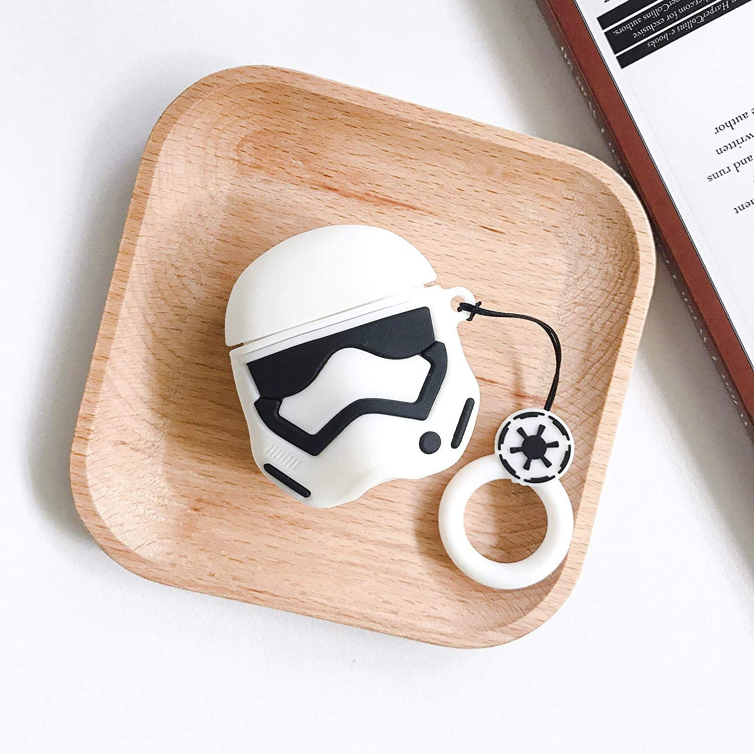 HotelPaw White SW Storm Trooper AirPods Case Cover - Cartoon Series - 3D Cute Cartoon Character AirPods Silicone Case/Skin/Cover for Girls, Boys, Kids, Teens (Compatible with AirPods Gen 1 and 2)