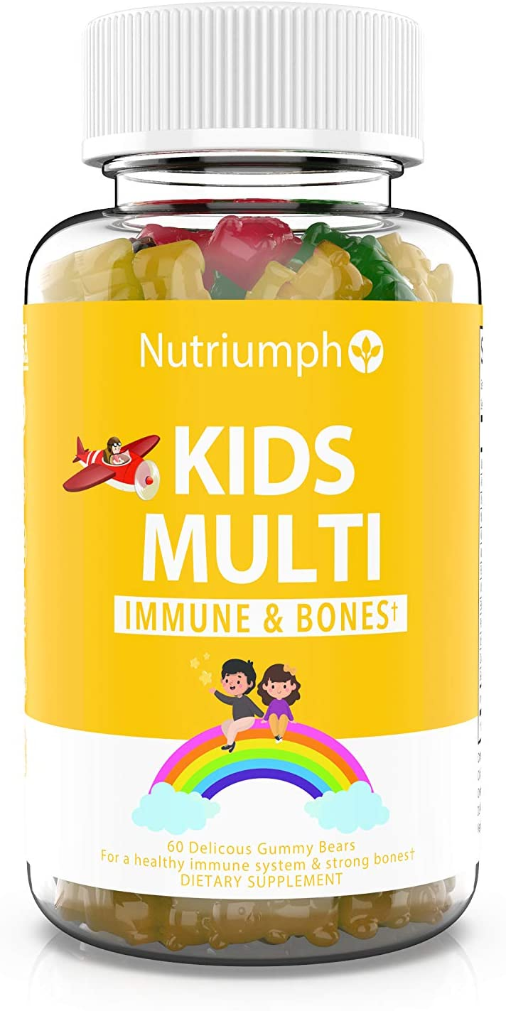 Kids Daily Gummy Bear Multivitamin | Vitamin A, C, D3, E and Zinc Immunity & Strong Bones, B6 & B12 for Energy | Natural Fruit Flavors | Vegan Gluten-Free 60 Gummies (30 Day Supply)