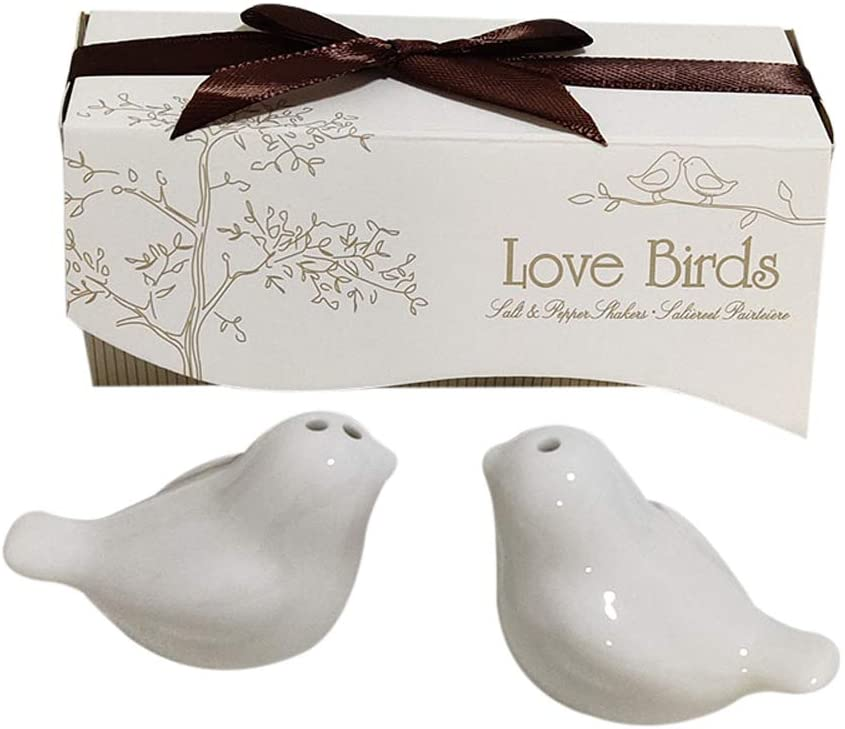Love birds in The Window Ceramic Salt and Pepper Shakers for Wedding Favors, Set of 50