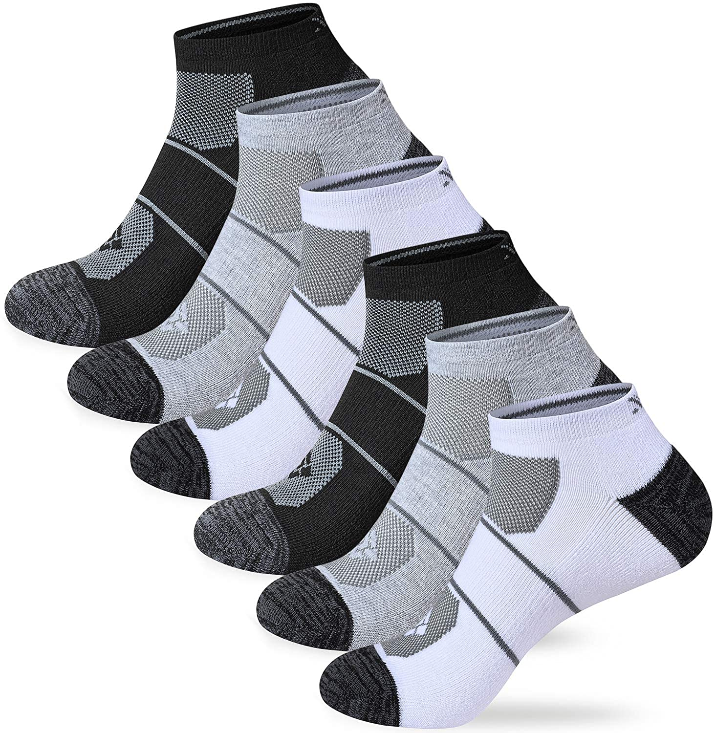 Akula Men's Socks Low-cut Sports Cushioning Running Socks Breathable Ankle Socks Size 10-13 (6 pairs)