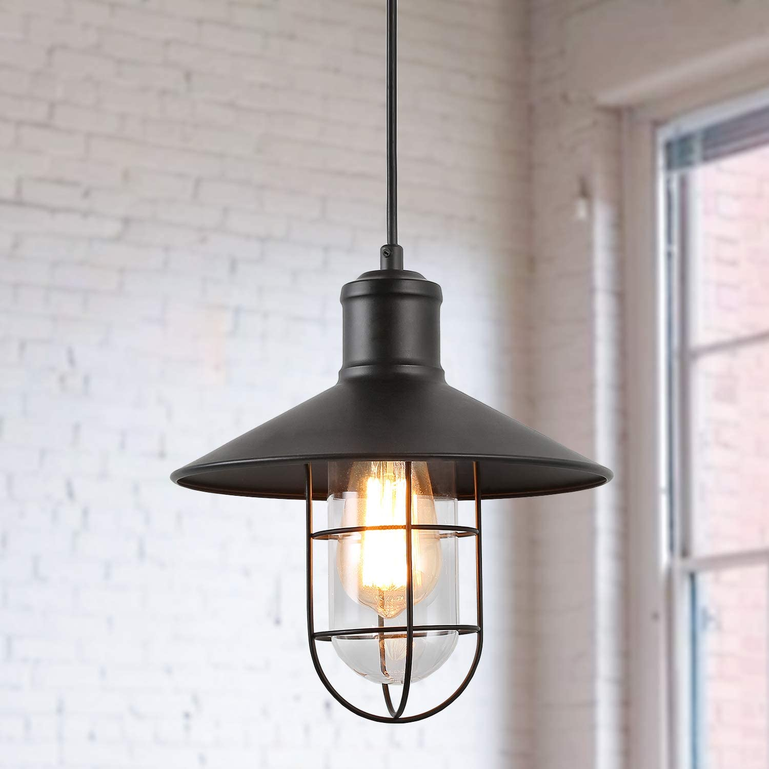 KSANA Industrial Pendant Lighting for Kitchen Island, Mini Cage Hanging Light Fixture for Dining & Living Room, Foyer Bedroom and Entryway