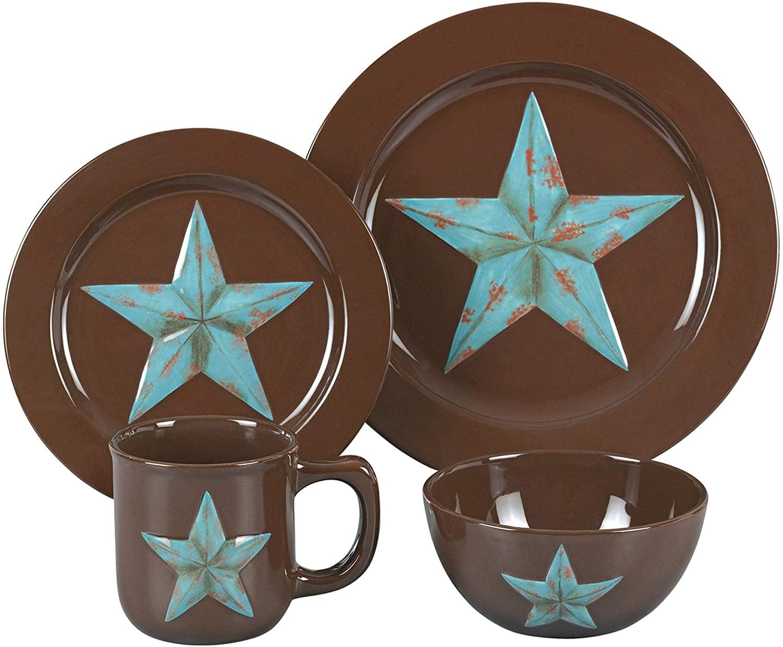 Turquoise Star 16-Piece Dinnerware Set Blue Brown Geometric Modern Contemporary Ceramic 16 Piece Dishwasher Safe Microwave