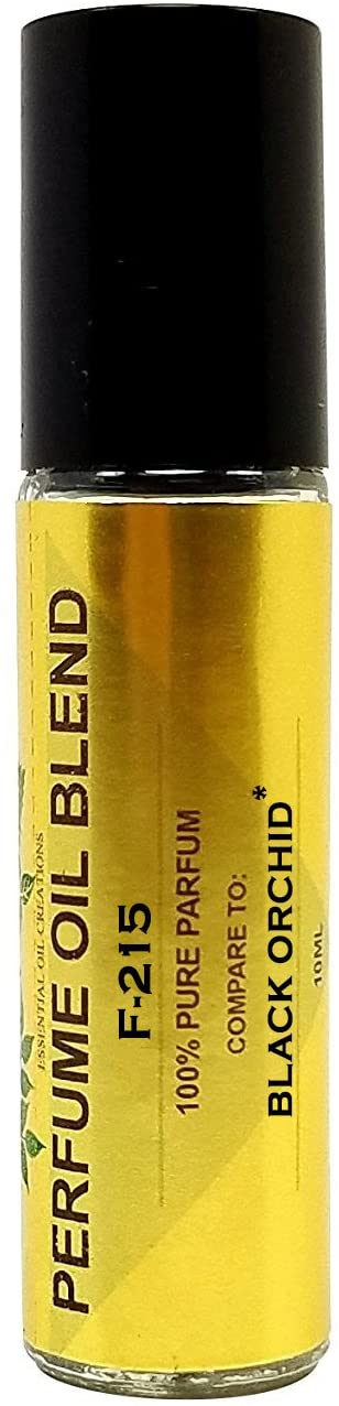 Perfume Studio Impression Perfume Oil Blend F-215. Made from Skin Safe Ingredients. Use for Beauty, Bath & Body, Candle Making Products. Glass Roll On (Black Orchid-10ml)