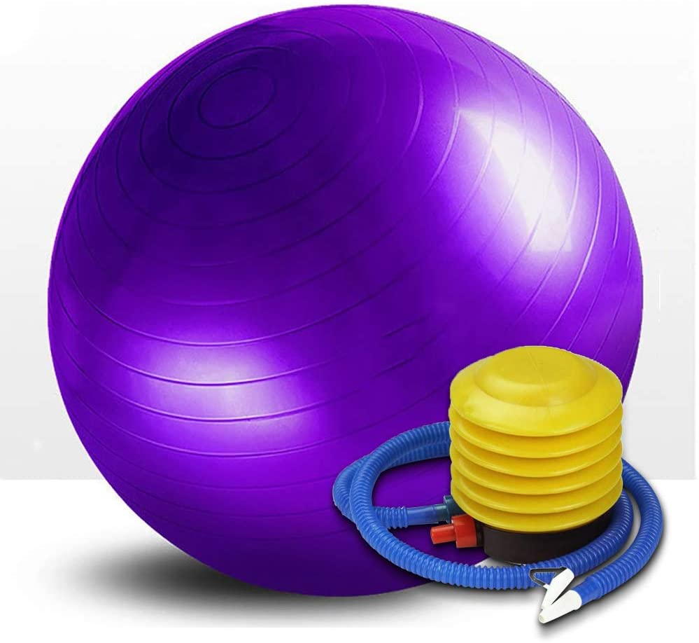 DONGKER Yoga Ball, Exercise Ball Balance Stability Ball PVC Thicke for Pilates, Yoga, Training and Home Workout (Purple)