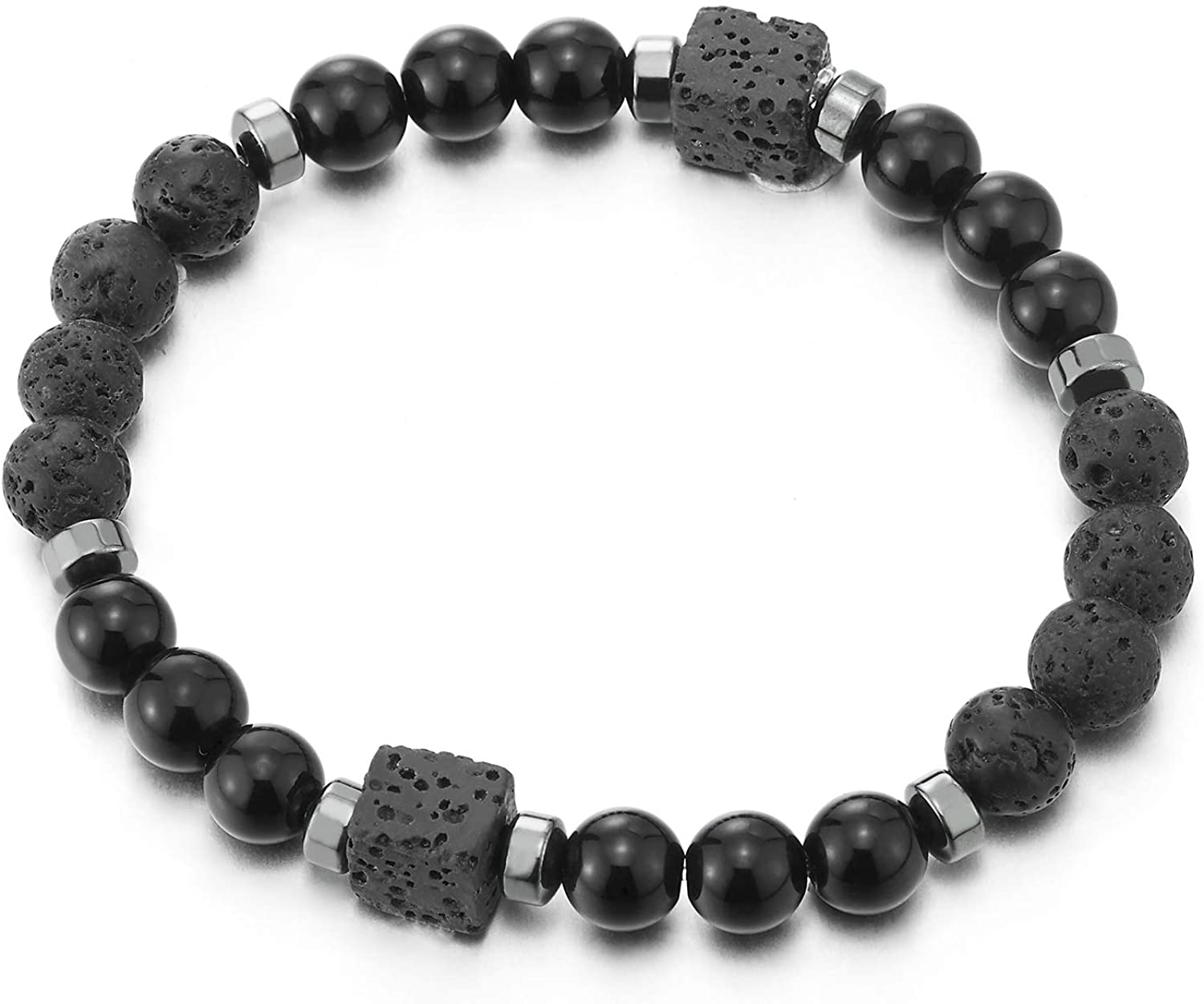 COOLSTEELANDBEYOND Mens Womens 8mm Black Onyx Volcanic Lava Stone Beads Bracelet with Cube Beads Charms, Stretchable