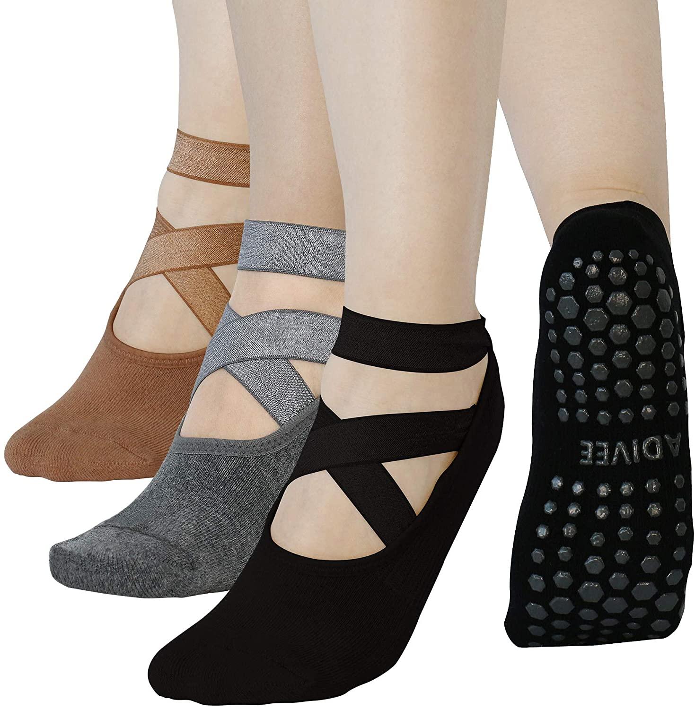 Yoga Socks, (3Pairs) Non Slip Pilates Socks with Grips for Women, Premium Women's Yoga Socks, Anti Skid Ballet Socks, Barre Socks, Perfect for Pilates, Barre, Ballet Dance, Workout, Brand: ADIVEE