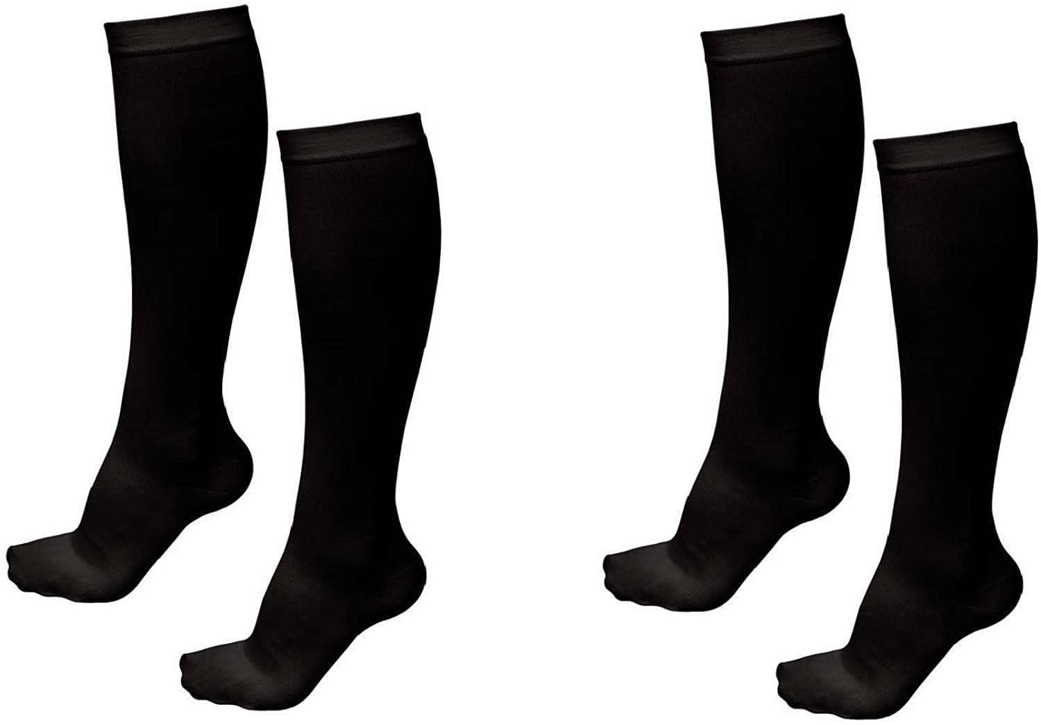 2 Pair Black Lg/Xl - TASOM Compression Socks Over the Calf Below Knee Anti Fatigue Sock For Mens Womans Foot Feet Ankle Heel Pain Ache Swelling Relief Support Stockings