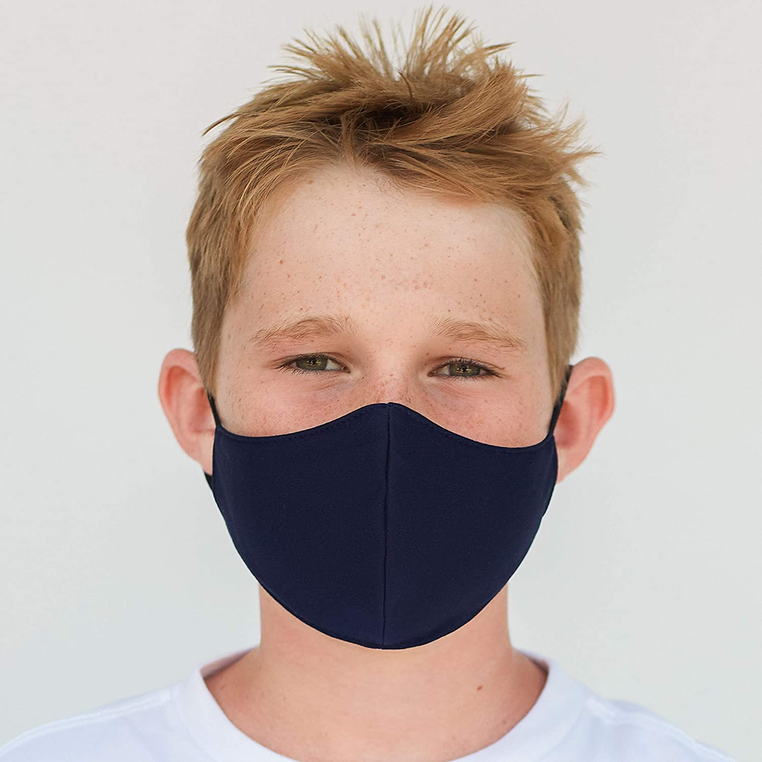 Youth Washable Face Mask with Adjustable Earloops & Nose Wire - 3 Layers, 100% Cotton Inner Layer - Ages: 6-12 - Cloth Reusable Face Protection with Filter Pocket (Solid Navy)