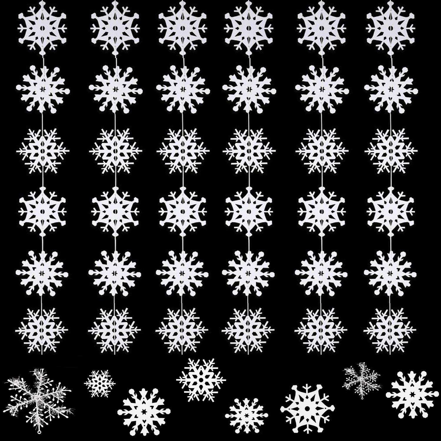 Christmas Snowflake Decoration Xmas Hanging Snowflake Decorative Snowflake Garland for Christmas New Years Party Supplies