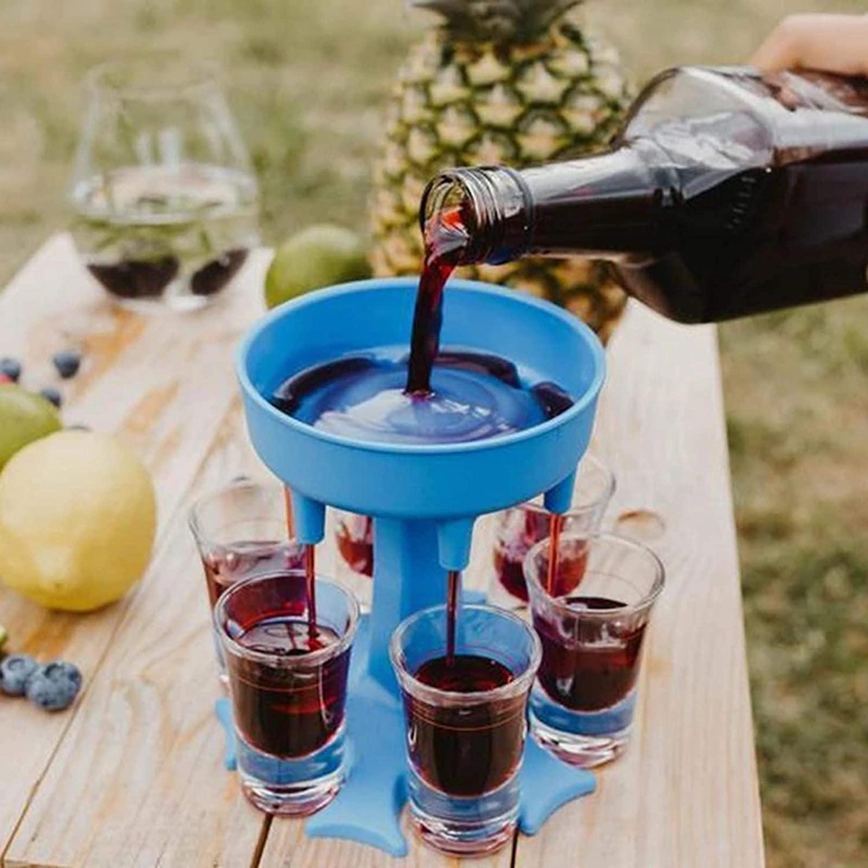 6 Shot Glass Dispenser and Holder -Dispenser, Plastic Shot Dispenser That Pours in Shot Glasse Dispenser for Filling Liquids, Cocktail Dispenser Beer Dispenser(Cup not Included) (Blue)