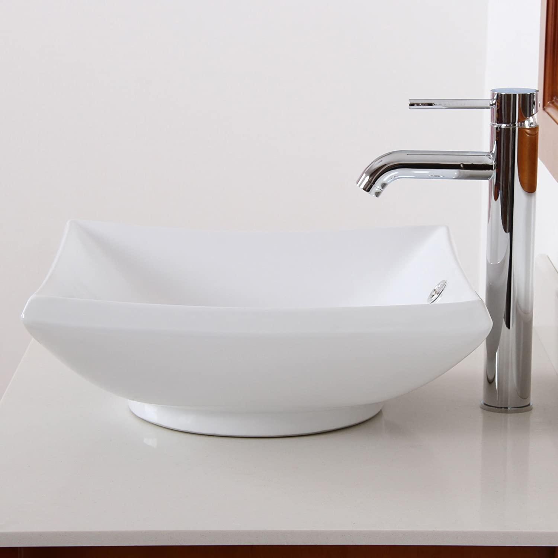 ELITE Bathroom Square White Ceramic Porcelain Vessel Sink & Chrome Faucet Combo