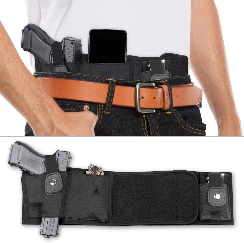 Geiomo Concealed Belly Band Holster, Tactical Elastic Waistband, IWB/OWB Gun Holster for Women & Men