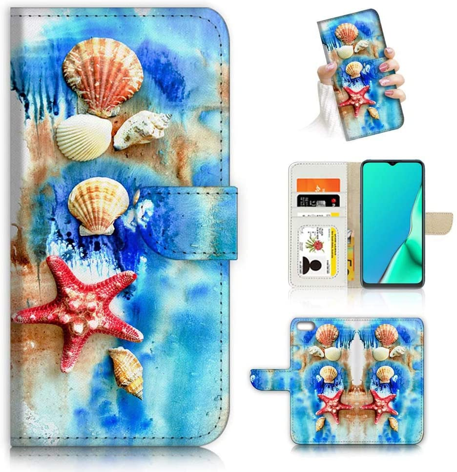 for iPod 7, iPod 6, iPod Touch 7th, 6th Generation, Designed Flip Wallet Case Cover, A22002 Shell Beach Sea 22002
