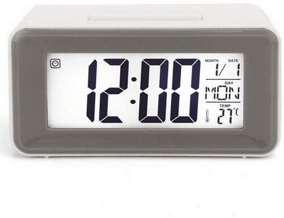benhong Battery Operated Digital Alarm Clock LCD Display Backlight Calendar Bedside Desk for Home Use (White)