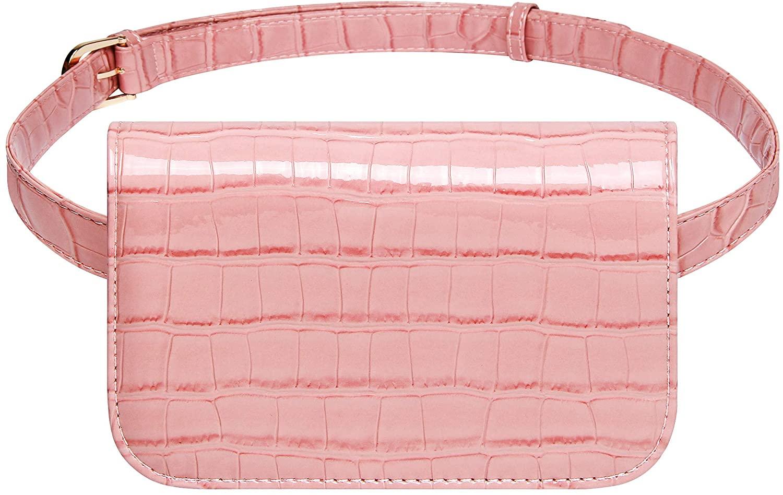 Badiya Women's Mini Waist Bag Fanny Packs Crocodile Leather Cell Phone Pocket (Pink)