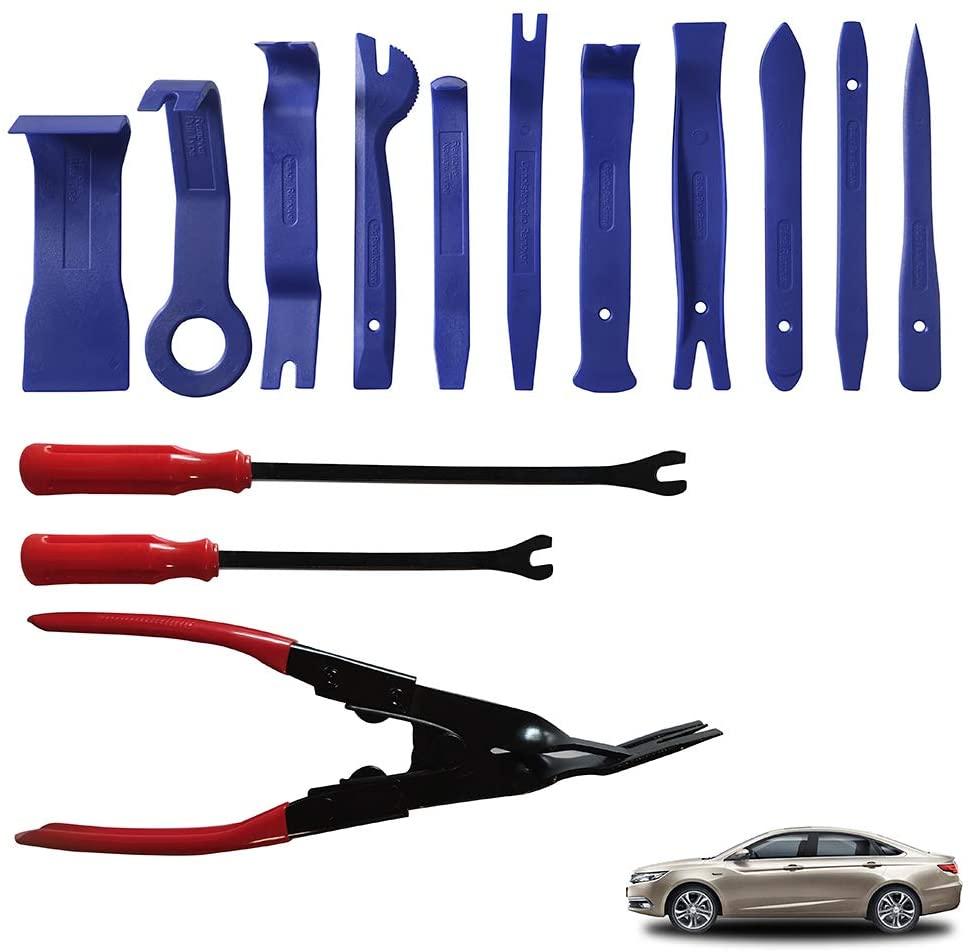 AUTO HIGH Trim Removal Tool Set, 14Pcs Car Panel Door Audio Trim Removal Tool Kit Trim Puller Tool Kit, Plastic Pry Tools Set, Auto Clip Pliers/Fastener Remover Set,Blue