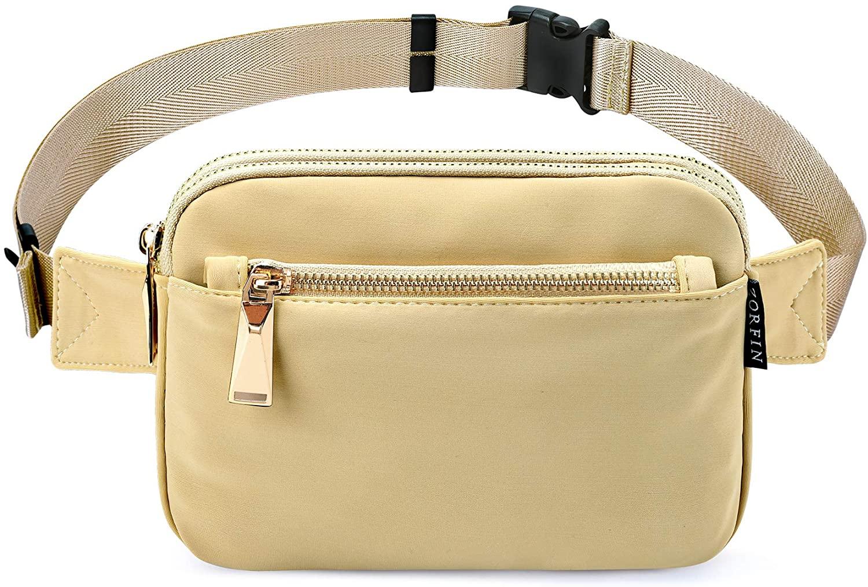 Zorfin Fanny Packs for Women Fashionable Black Nylon Belt Bag (Khaki)