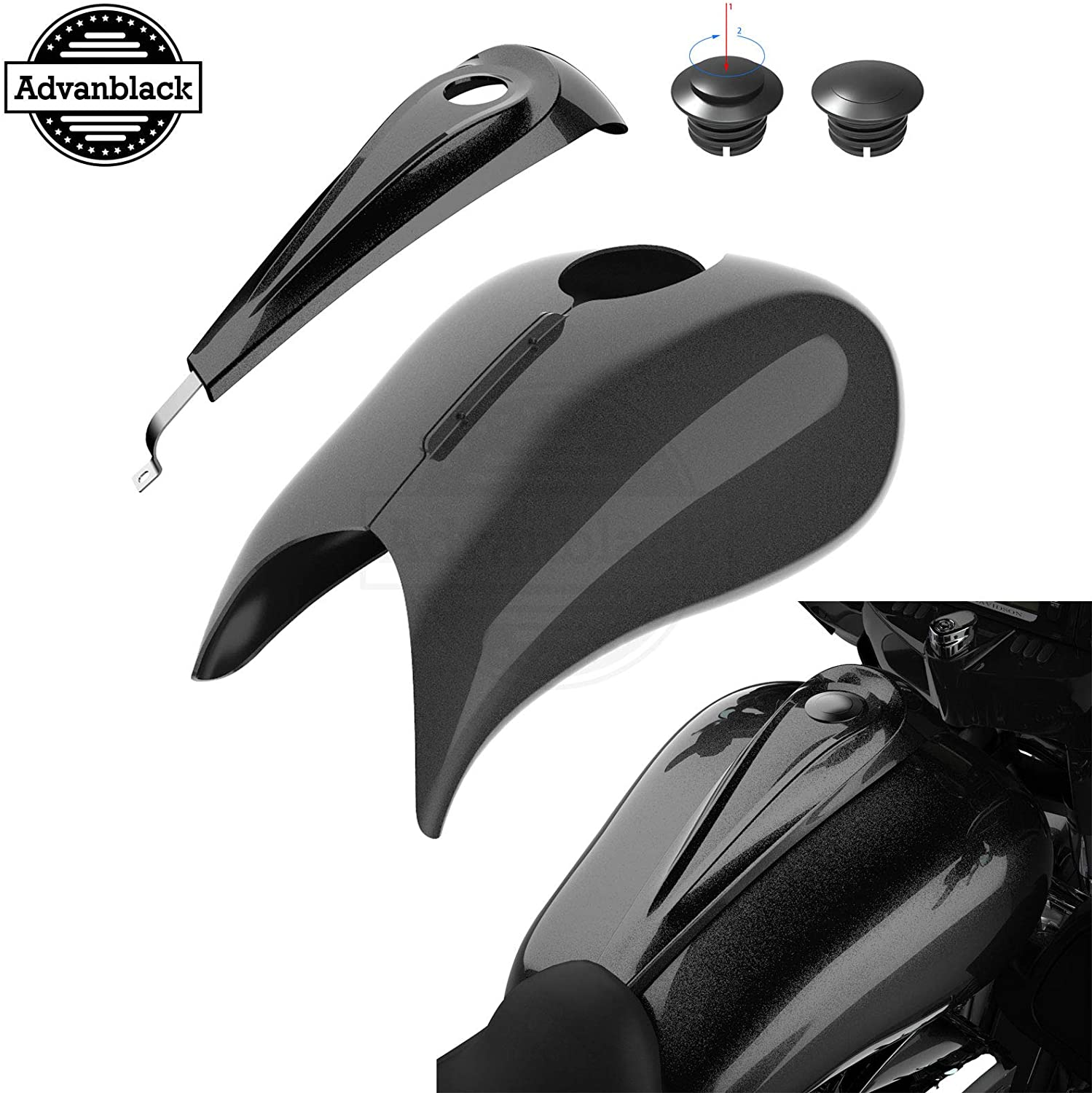 Advanblack Stretched Tank Covers with Dash Console Fit for Harley Touring Street Glide Road Glide 2014 2015 2016 2017 2018 2019 2020 (Black Quartz)