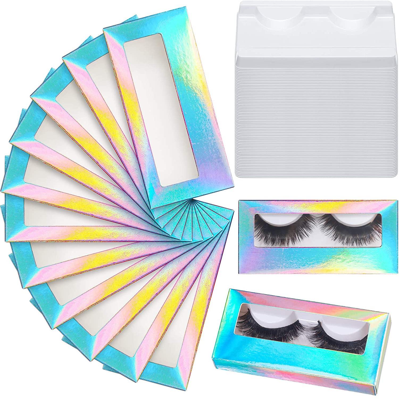 100 Pieces Empty Eyelash Case Set, 50 Empty Eyelash Boxes Lash Box Packaging Glitter Paper Eyelash Storage Box, 50 Empty Eyelash Boxes Tray False Eyelash Storage Box Packing Eyelash Tray (Colorful)