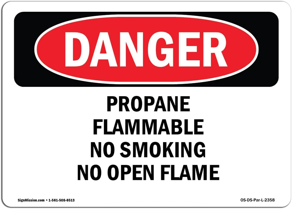 OSHA Danger Sign - Propane Flammable No Smoking No Open Flame | Choose from: Aluminum, Rigid Plastic Or Vinyl Label Decal | Protect Your Business, Construction Site, Shop Area | Made in The USA