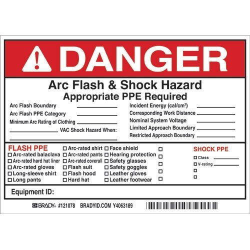 Brady 121078, Write-On Arc Flash & Shock Label (Warning), (15 Packs of 5 pcs)