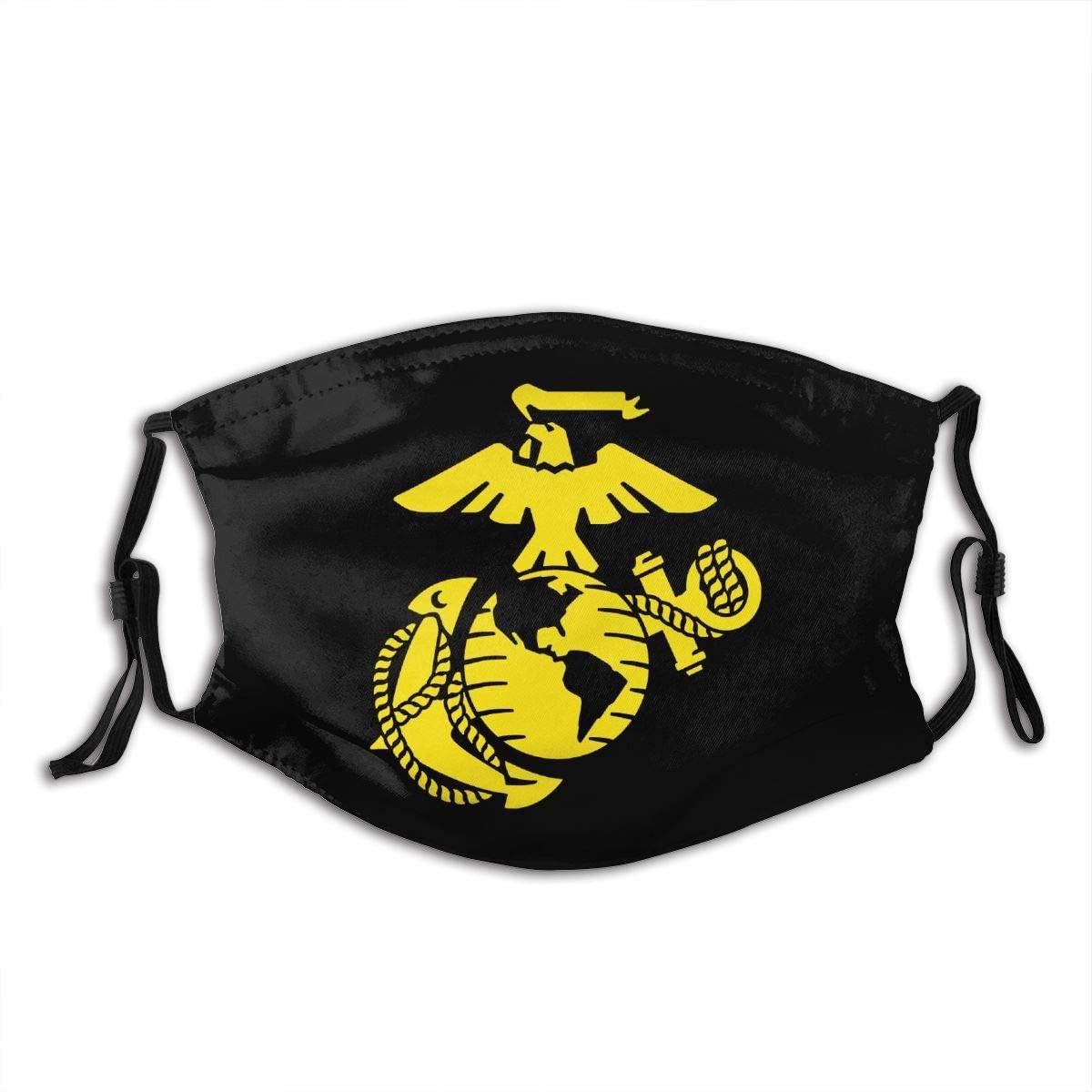 USMC Marine Logo Outdoor Mask,Protective 5-Layer Activated Carbon Filters Adult Men Women Bandana