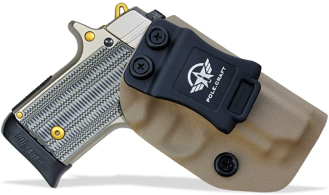 IWB Kydex Holster Custom Fit: Sig Sauer P238 Pistol - Inside Waistband Concealed Carry - Adj. Cant Retention - Cover Mag-Button - No Wear - No Jitter