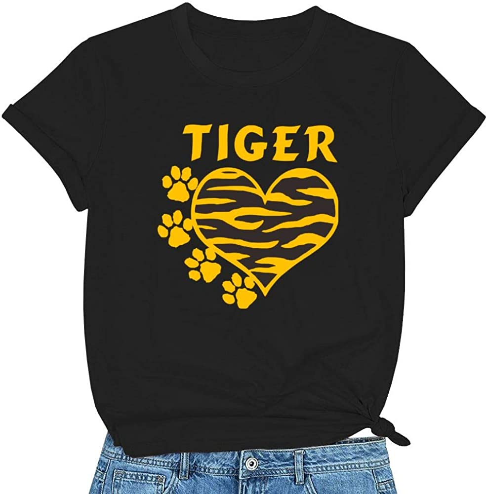 Tiger Paw Tee Shirt for Women Funny Cute Graphic Short Sleeve O-Neck Casual Novetly Tops