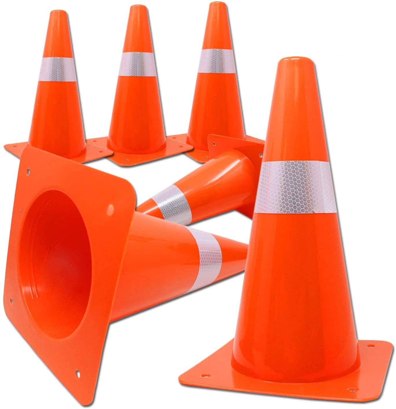 Orange Safety Cones with 12 inch Reflective Stripe | Traffic, Sports, Soccer, Parking, Warning Cones for Professionals, Kids (6 Pack)