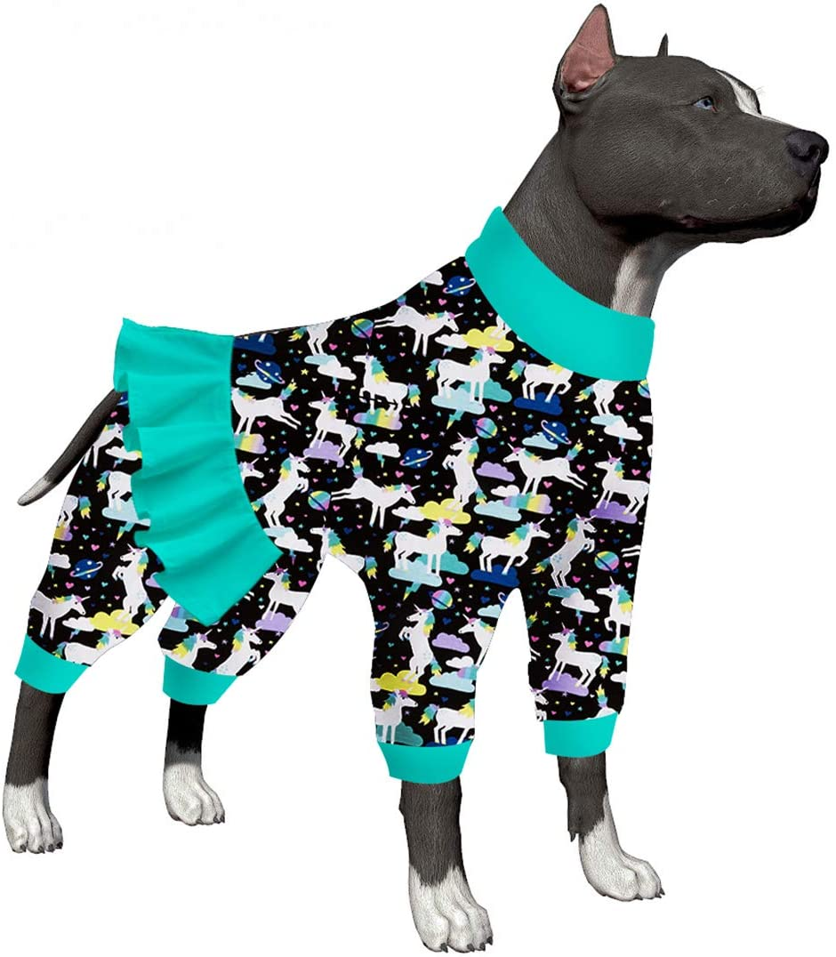 LovinPet Dog Unicorn Pajamas Dog Clothes Post Surgery Recovery for Pitbull Labrador Doberman Boxer/Unicorns in Space Black Prints/Lightweight Big Dogs Pullover, Full Coverage Large Breed Dog Pjs