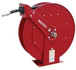Dual-Pedestal Hose Reel for Medium Pressure Oil - Includes 1/2 in x 100 ft Hose, 3000 psi, Spring Retractable