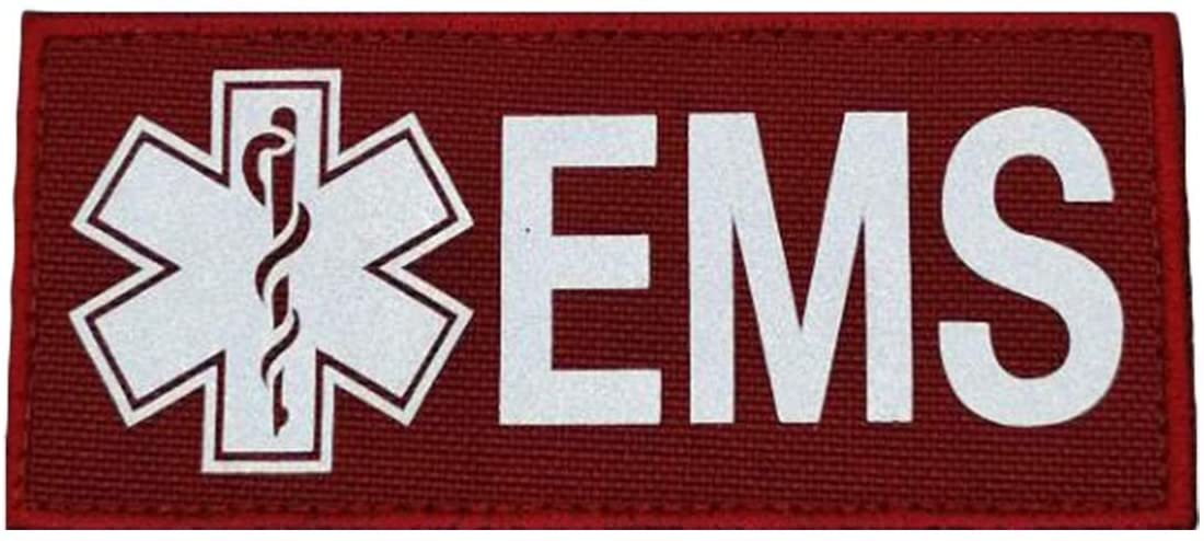 Reflective EMS EMT Star Patches, Tactical Medical Patches with Hook-Fastener Backing (Red, 4.41.97in)