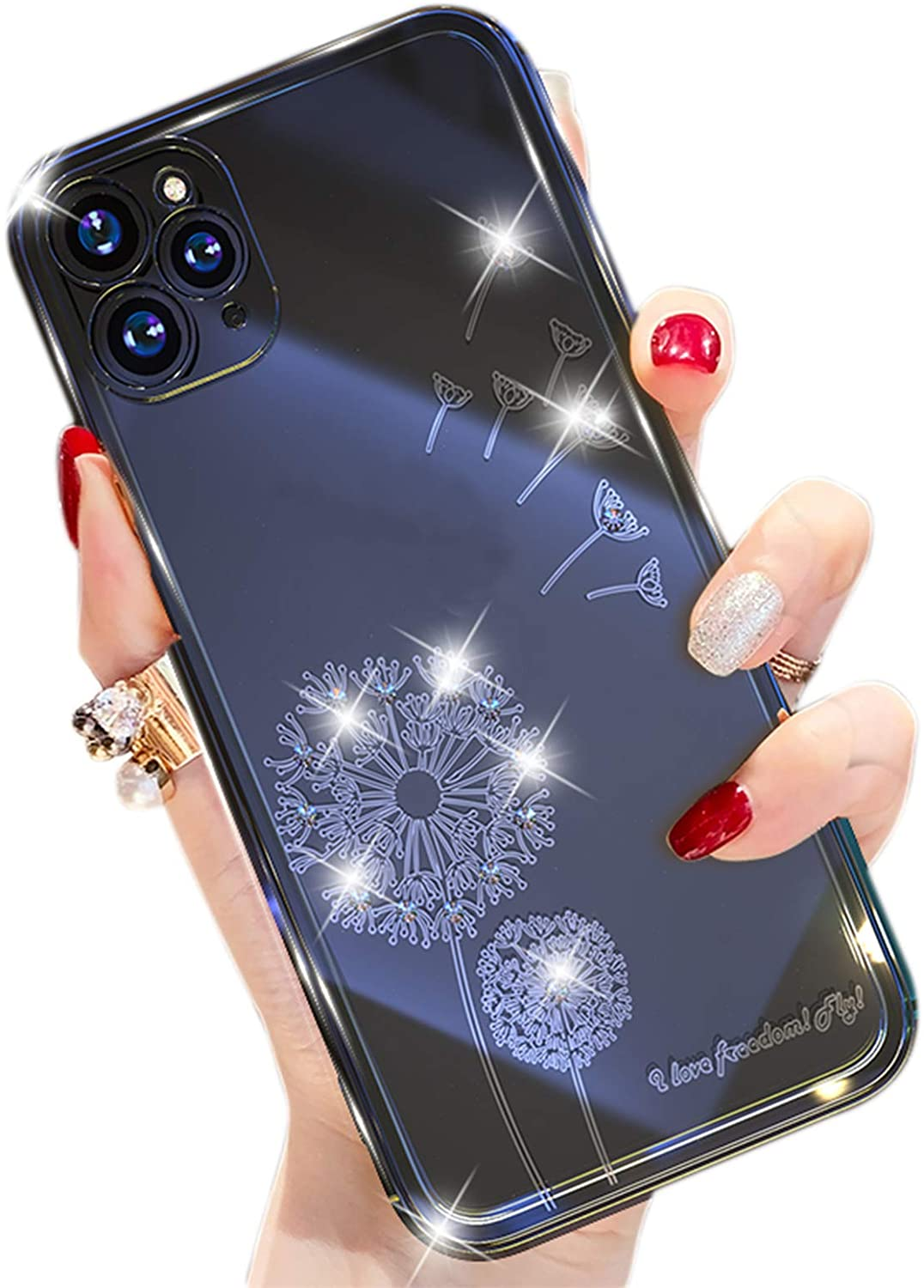 Luiryare Crystal Clear Case for iPhone 12/11/XS Case, Flashing Dandelion Shockproof Drop Protection Protective Phone Case for iPhone 12 Pro/12 Mini/11 Pro Max/XR