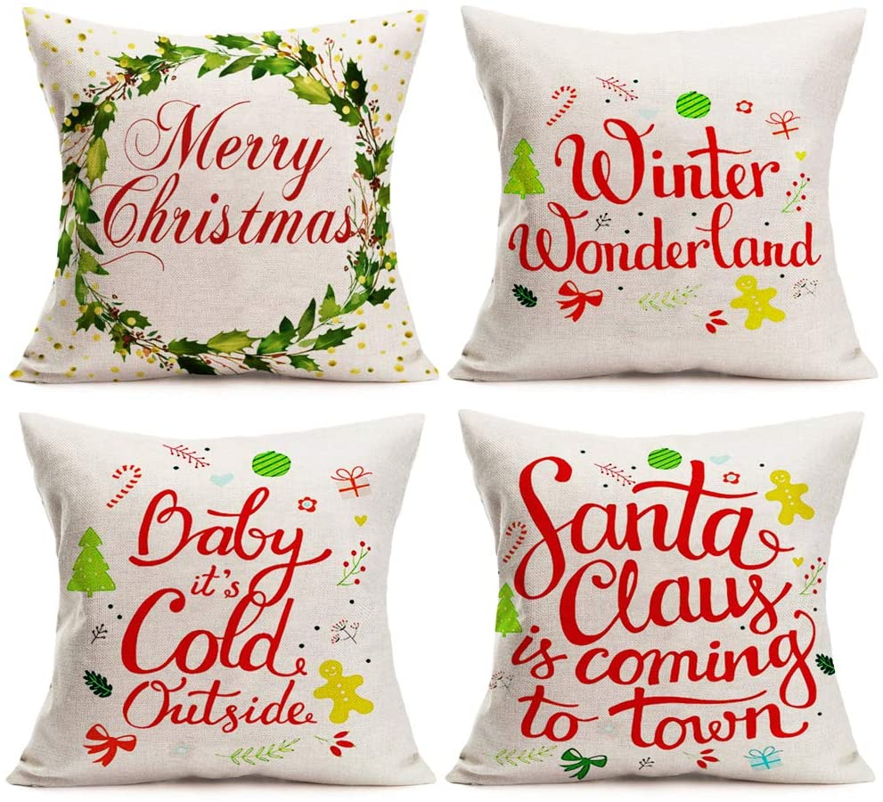 Aremetop Christmas Decorations Pillow Covers Winter Xmas Greetings Quotes with Mistletoe Holly Wreath Gingerbread Man Cotton Linen Throw Waist Pillow Case Cushion Cover 18''x18'' Set of 4 Xmas Gift