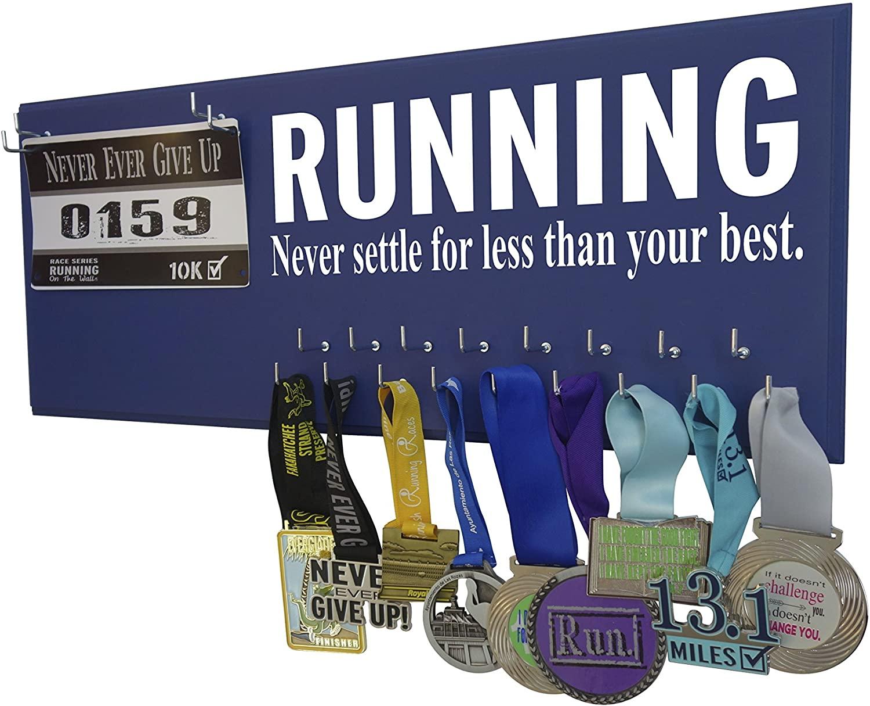 Running On The Wall - Race Bib Medal Display Rack- Wall Mounted Sports Medal Holder Hanger 5K, 10K Marathons Runners - Never Settle Less Than Your Best