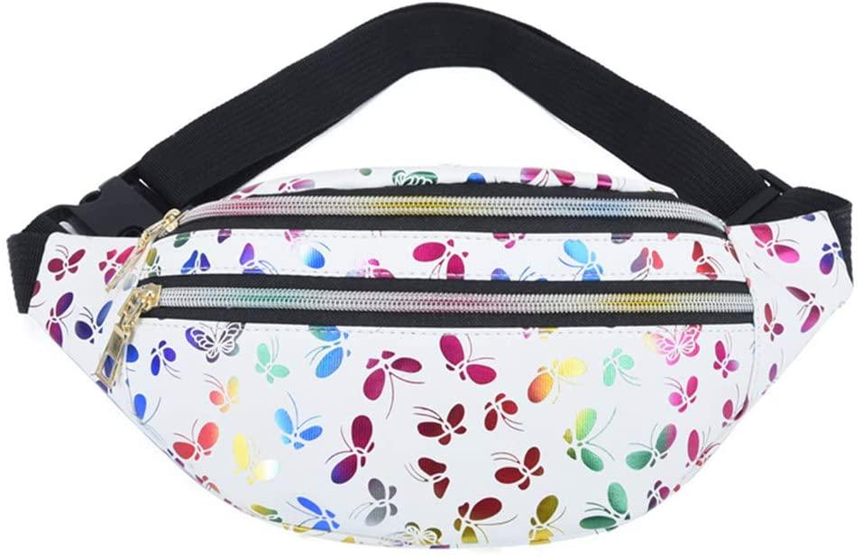 FEIlei Sports Pockets, Women Printed Waist Fanny Pack Belt Bag Travel Hip Bum Purse Chest Phone Pouch- White