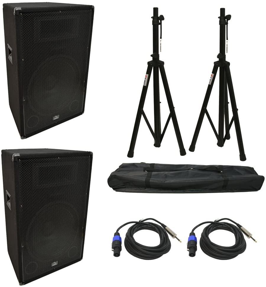 (2) Harmony Audio HA-V15P DJ 15 900W PA Speaker Speakon to 1/4 Cables & Stands