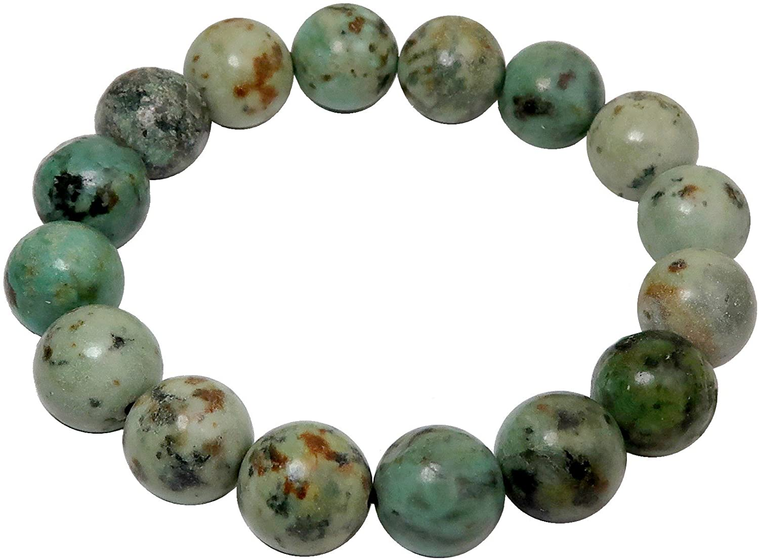 SatinCrystals Turquoise Bracelet 11mm Boutique Genuine Green African Gemstone Round Handmade Stretch B02