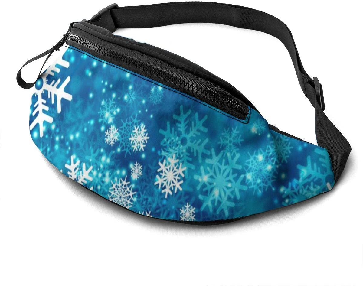 Dujiea Fanny Pack, Christmas Ice Blue Snowflake Waist Bag with Headphone Hole Belt Bag Adjustable Sling Pocket Fashion Hip Bum Bag for Women Men Kids Outdoors Casual Travelling Hiking Cycling