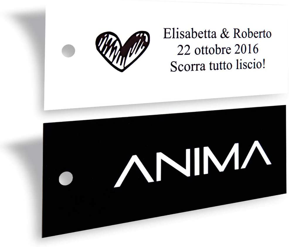 Wunderlabel Personalized Custom Customize Rectangular Hang Tag Label for Crafting Gifting Packaging Fabric Material Ribbon Ribbons Art Fashion Beautiful Classic Tags, 1000 Labels