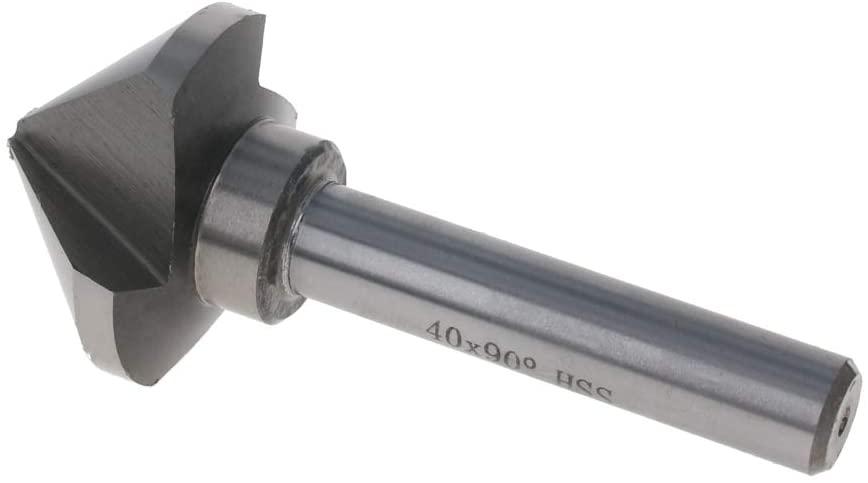 Utoolmart HSS 40mm Dia 90 Degree Chamfer Milling Cutter Countersink Router Bits 1pcs