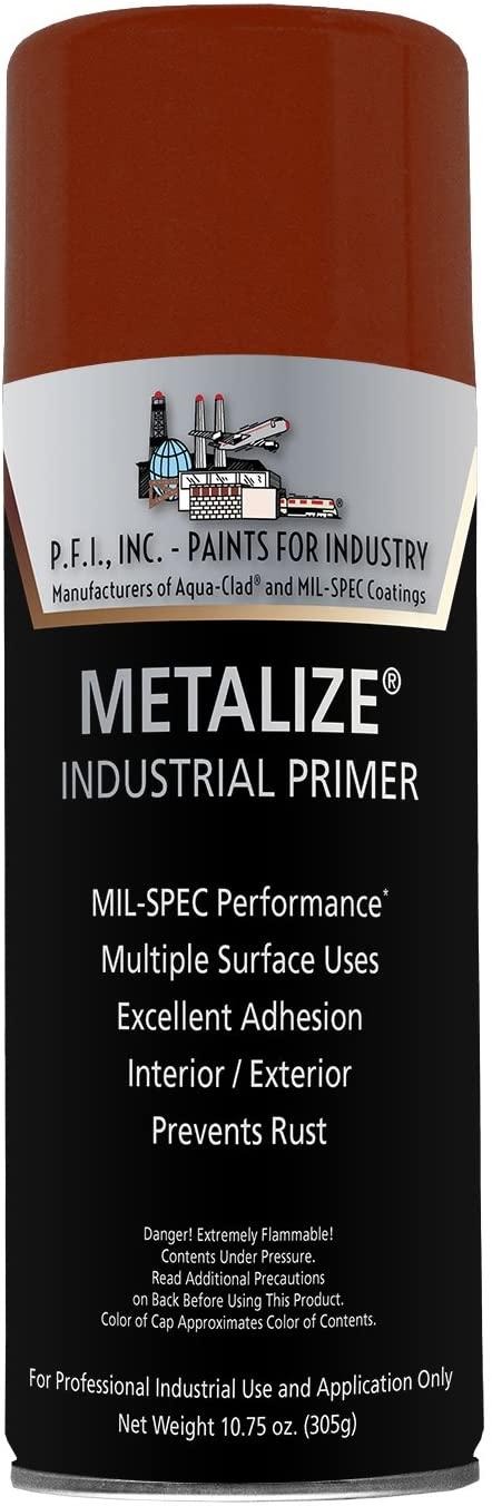 Metalize Flat Red Oxide Industrial Primer Aerosol - 10.75 oz, (Case of 12)