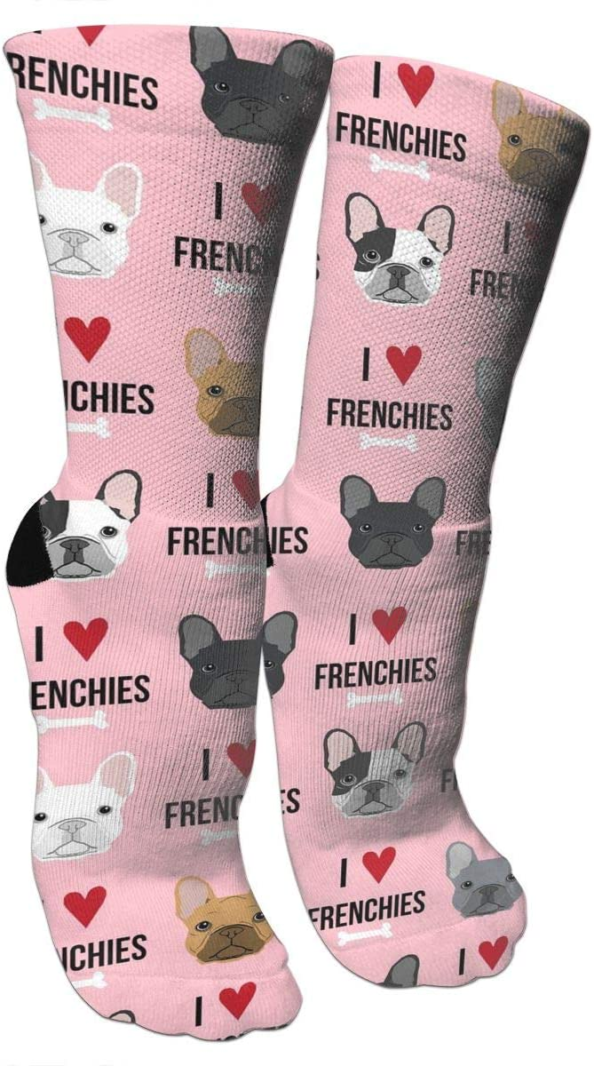 antspuent I Love French Bulldogs Compression Socks Unisex Fun Novelty Crazy Dress Crew Socks