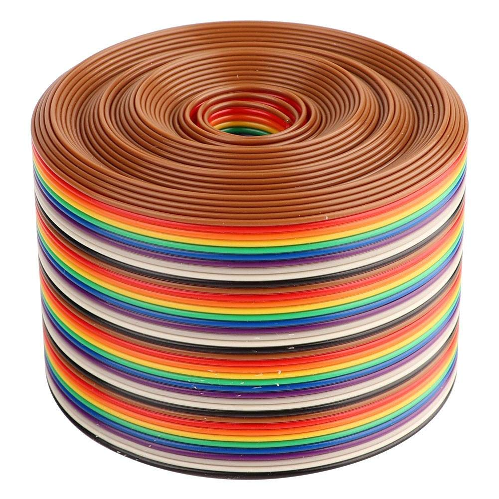 Nitrip Colorful 1.27mm Spacing Pitch Cable 40P Flat Rainbow Ribbon Cable Wire Width 5.08cm(1 Meters)