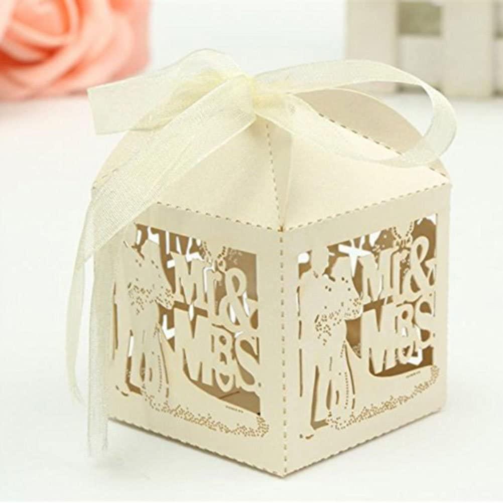 BESTOYARD Bridal Shower Favor Boxes Paper Candy Gift Boxes Baby Shower Favors Mr Mrs Bride Groom Boxes 50pcs